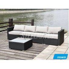 Bali 4 Seater Outdoor Sofa Modular 5 Piece Set Rattan Furniture Lounge