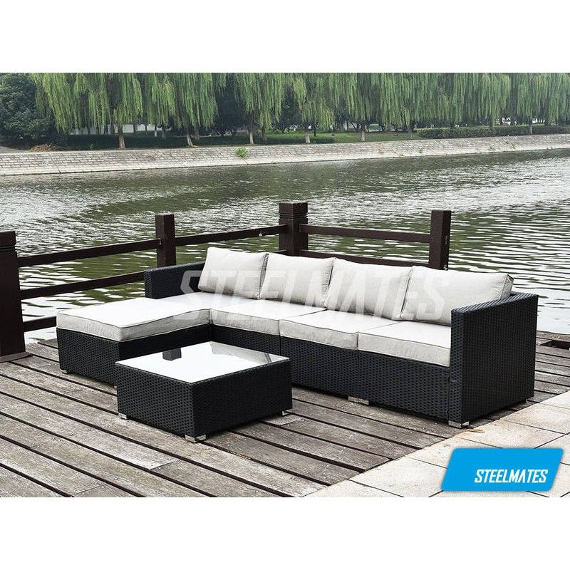 Miami 5 Seater Outdoor Sofa Modular 6 Piece Set Rattan Furniture