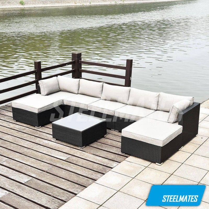 Cairns 7 Seater Outdoor Sofa Modular 8 Piece Set Rattan