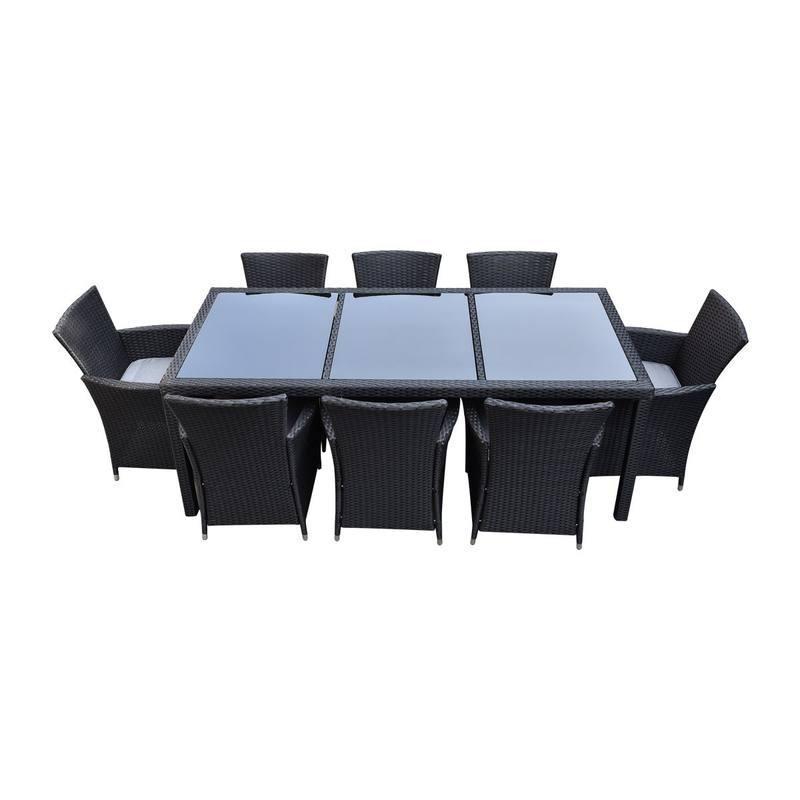 malibu 9 piece 8 seater outdoor dining set furniture rattan black. Black Bedroom Furniture Sets. Home Design Ideas