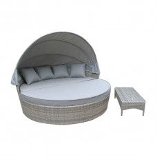 Cebu PE Wicker Outdoor Canopy Round Day Bed Sun Lounger Rattan Furniture Set