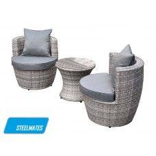 Gold Coast 3 Piece Outdoor Garden Balcony Set Furniture Rattan Wicker